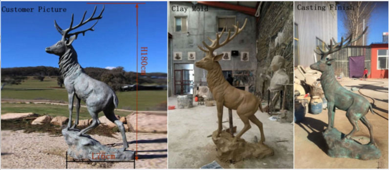 Bespoke bronze stag statues