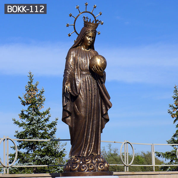 Catholic saint bronze garden statues of our lady Mary with crown for sale