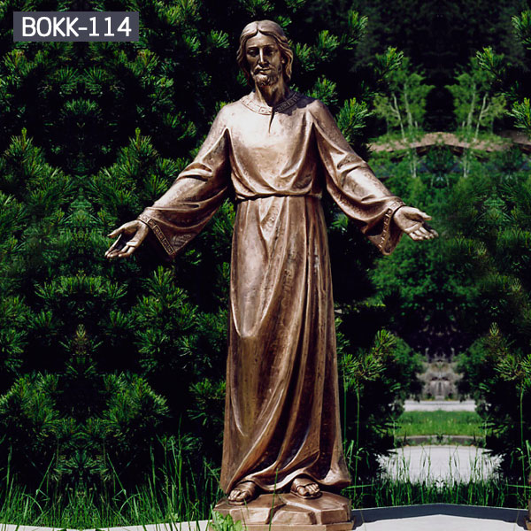 Religious bronze statues life size Jesus open arms for garden decor