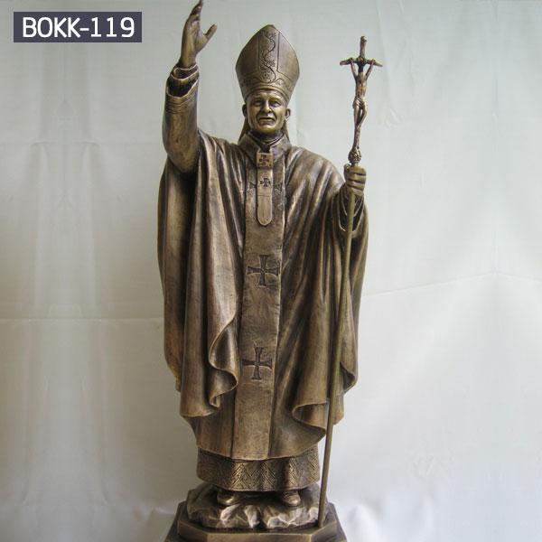 Bronze religious garden statues of catholic pope outdoor