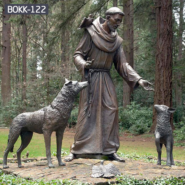 Bronze catholic patron Saint Francis statue with dog for garden sale