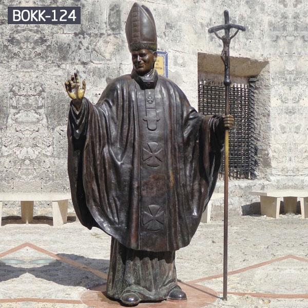 Life size bronze pope hold crosier catholic statues outdoor