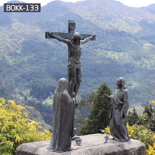 Jesus nailed to the cross bronze casting statues outdoor