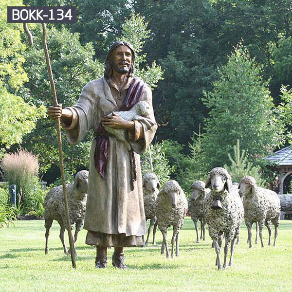 Shepherd Jesus and his lambs bronze casting statues for outdoor garden