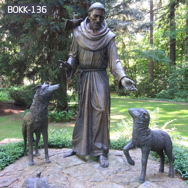 Saint francis bronze garden statues outdoor lawn decor