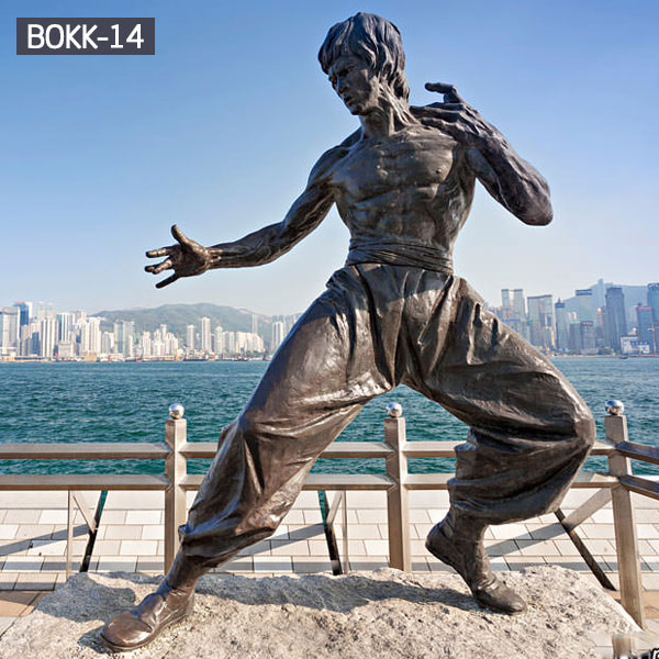 Bronze famous life size figure garden statues of Bruce Lee outdoor