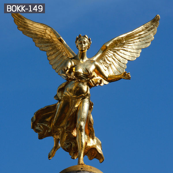 Life size golden brass winged angel yard statues for sale