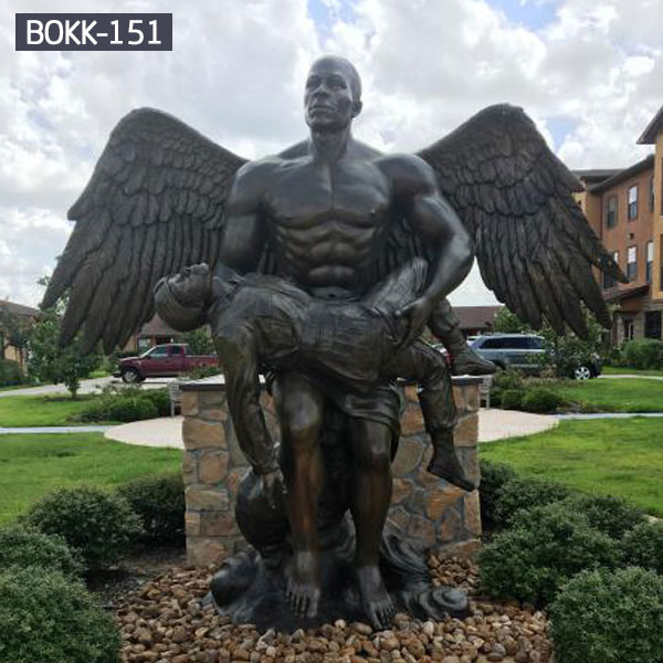 Large black male guardian angel monuments statues for grave outdoor