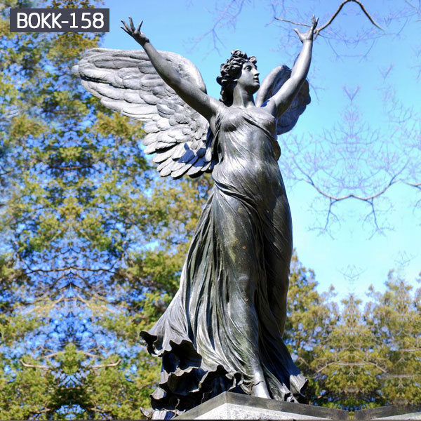 Large black life size guardian angel statues outdoor garden decor
