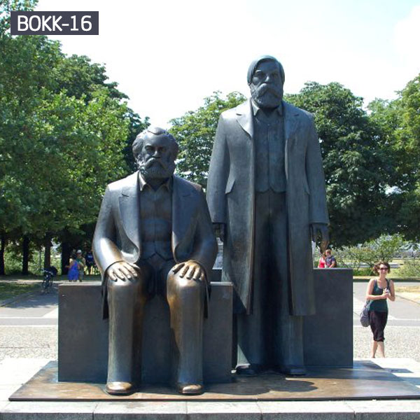 Outdoor garden bronze life size famous figure statues of Marx and Engels for sale