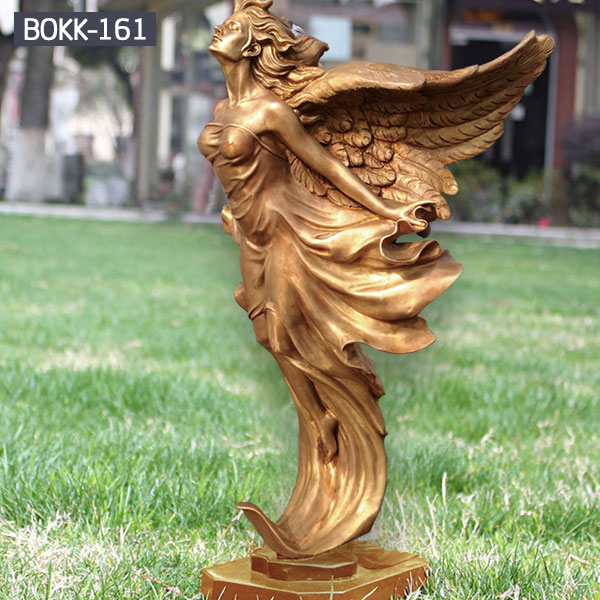 Life size golden brass lawn art ornaments angel statues for sale