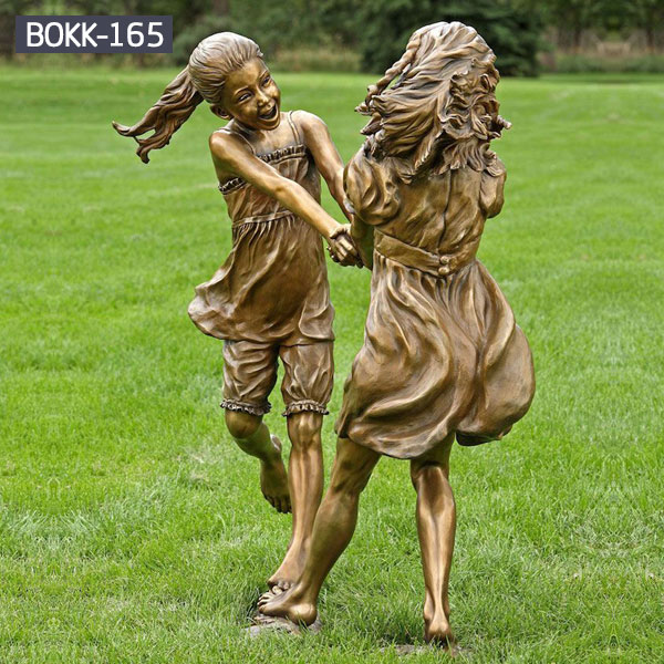 Outdoor bronze garden art two little girl life size statues for sale