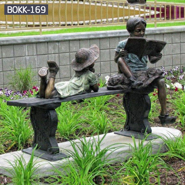 Public garden decor children sitting and lying on the bench reading books bronze sculptures