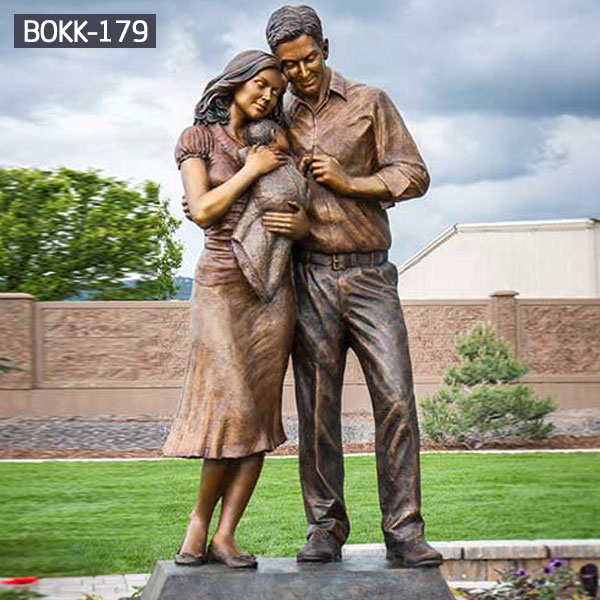 Young parents and new born baby life size bronze sculptures for sale