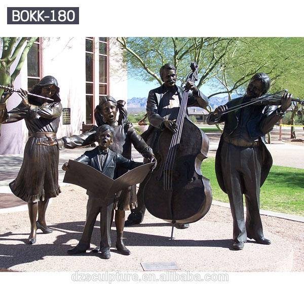 Outdoor life size garden public bronze sculpture of music group for sale