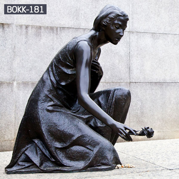Life size bronze lady put the rose down to floor bronze casing sculptures