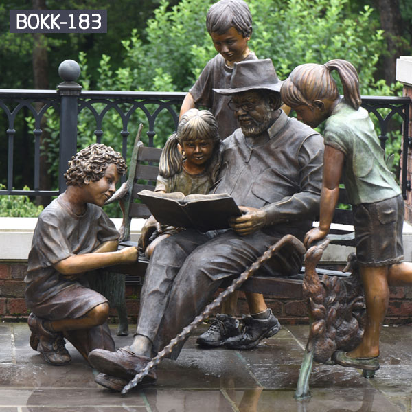 Outdoor yard ornaments bronze sculptures of old man and children group