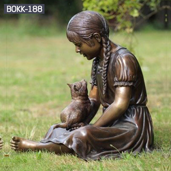 Bronze life size sitting girl and cat for lawn ornaments