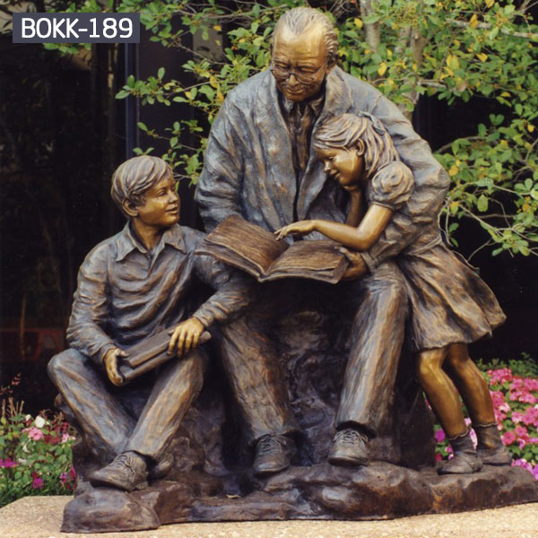 Life size bronze group sculptures of old man and children park decor