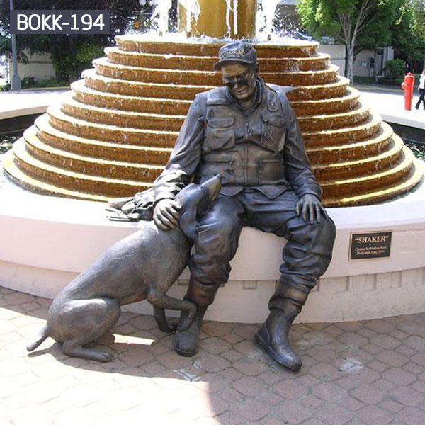 Man and his dog life size bronze sculpture for outdoor street