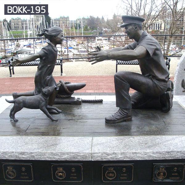 Military solder meet his little girl and dog bronze sculptures outdoor memorial