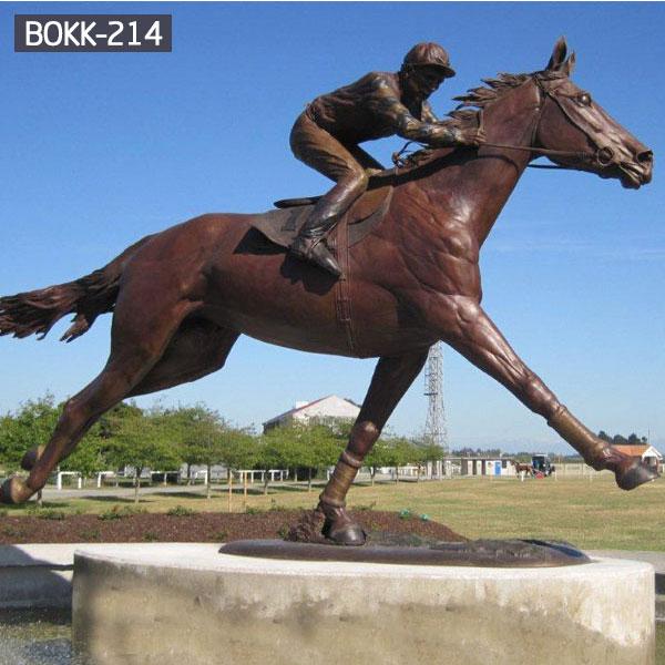 Life size vintage bronze jockey on horse sculptures for sale