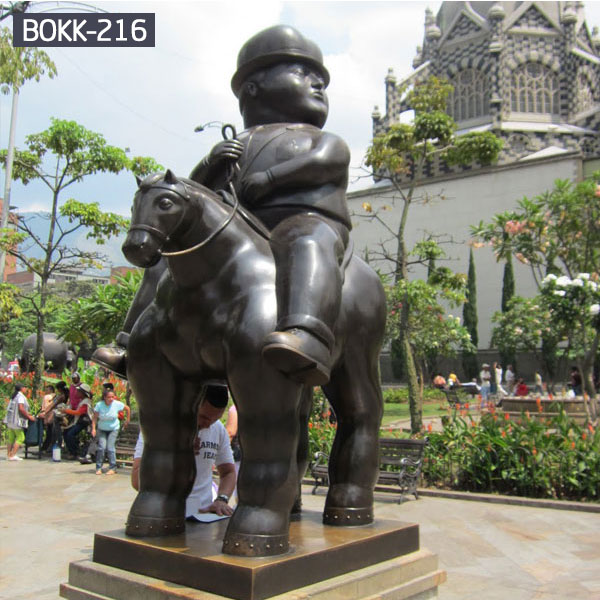 Famous fernando botero bronze fat horse and rider sculpture for sale