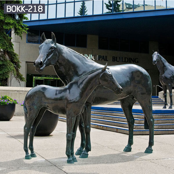 Life size black horse and pony bronze statues for sale