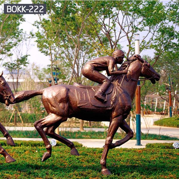 Outdoor home decor bronze jockey on horse racing equestrian sculpture costs