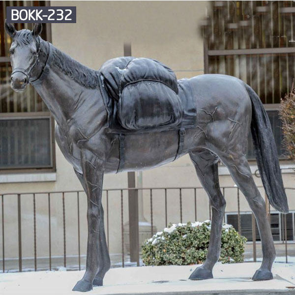Outdoor large bronze horse and saddle sculptures for sale