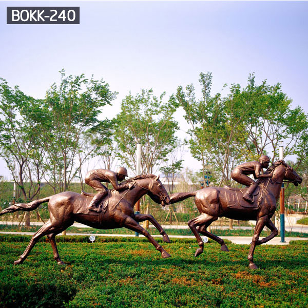 Race horse and rider life size statues for lawn ornaments