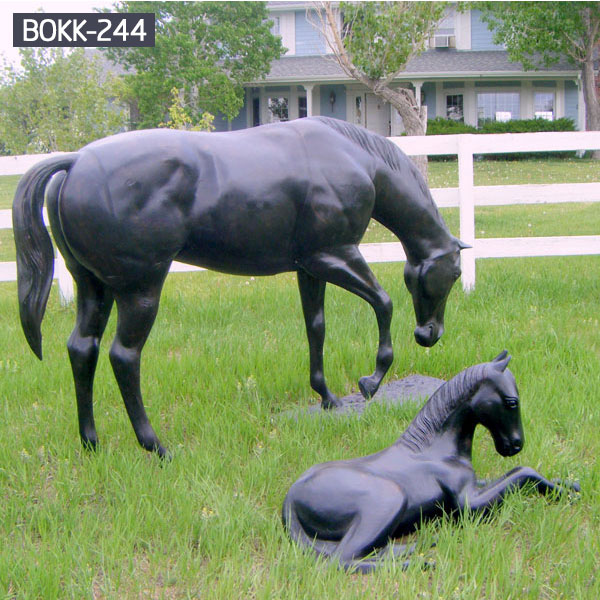 Life size mother horse standing grazing and little pony bronze statues for sale