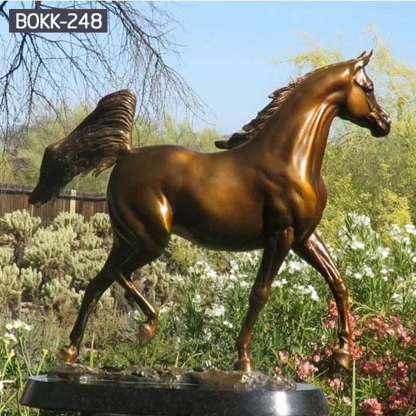 Bronze arabian horse racing statues for home garden decor
