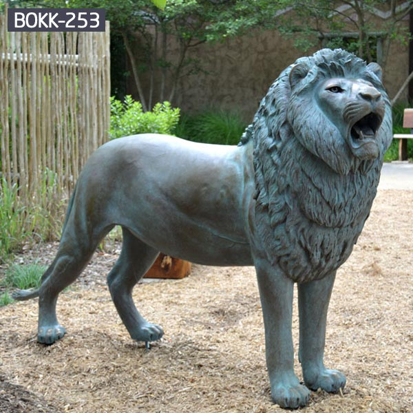 Life size antique bronze roaring lion yard statues for sale