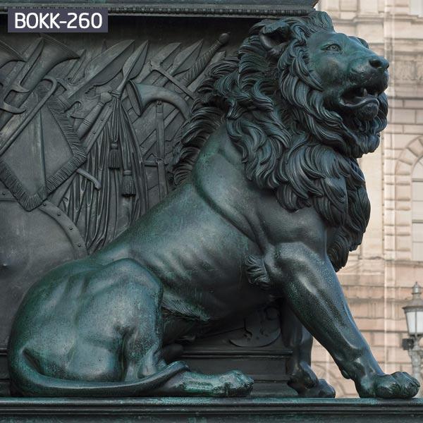Life size antique guardian sitting lion statue lawn ornaments for sale