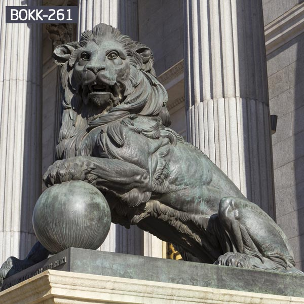 Life size guardian lion statue with ball garden statues for sale