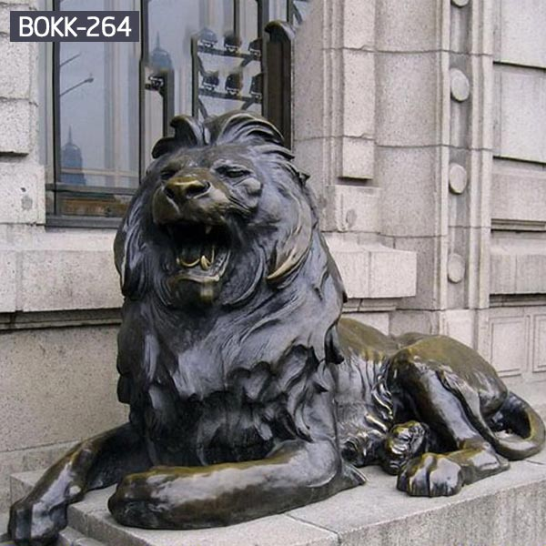 Life size bronze sitting lion statues outdoor for sale