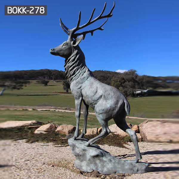 Life size antique bronze stag statues outdoor ornaments