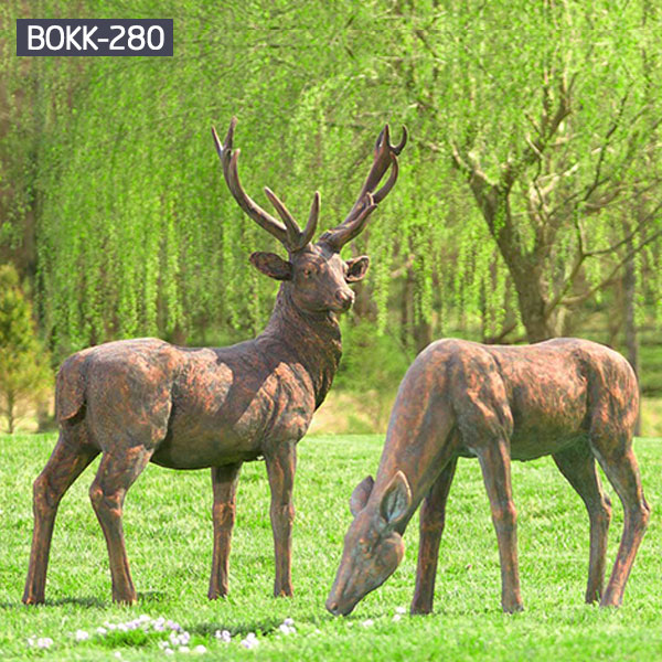 A pair of stag and deer metal bronze statues for outdoor lawn decor