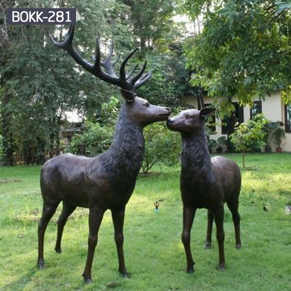 Male deer stag and female deer bronze sculptures for garden lawn ornaments to buy