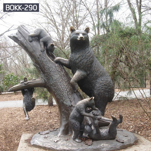 Large bronze bear garden statues and cubs for sale