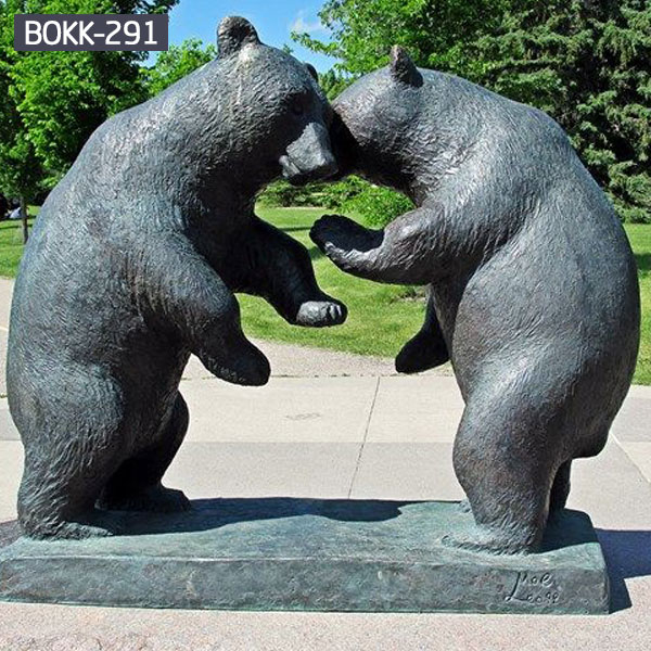 Giant bronze bear statues fighting lawn ornaments