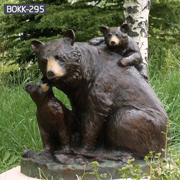 Large teddy bear statue and cub lawn sculptures for sale