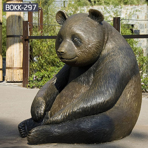 Large panda bear yard statue bronze casting for sale