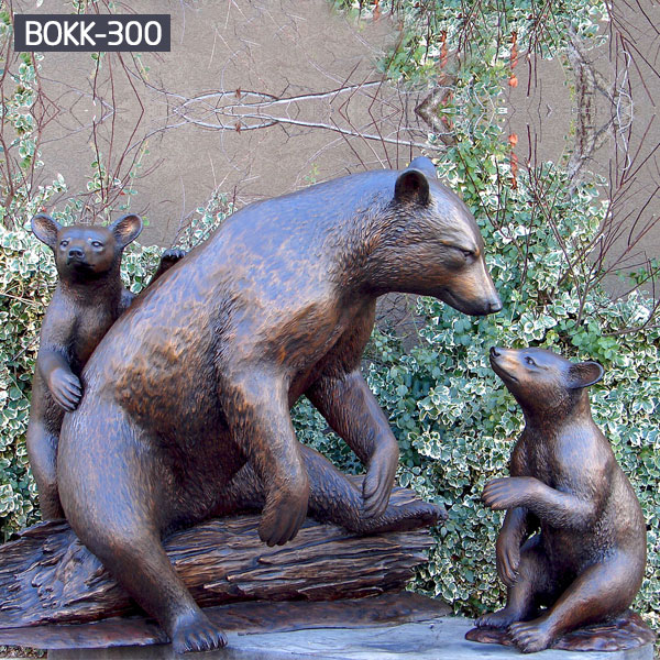 Metal bronze polar bear statue and cubs sitting on trunks to buy