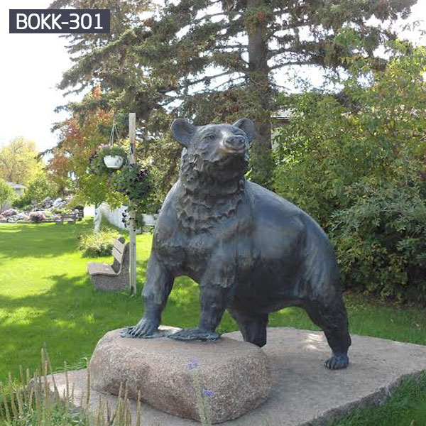 Bronze life size grizzly bear statues for garden lawn decor outdoor