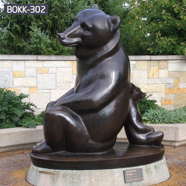 Polar brown bear sculptures for yard metal decor