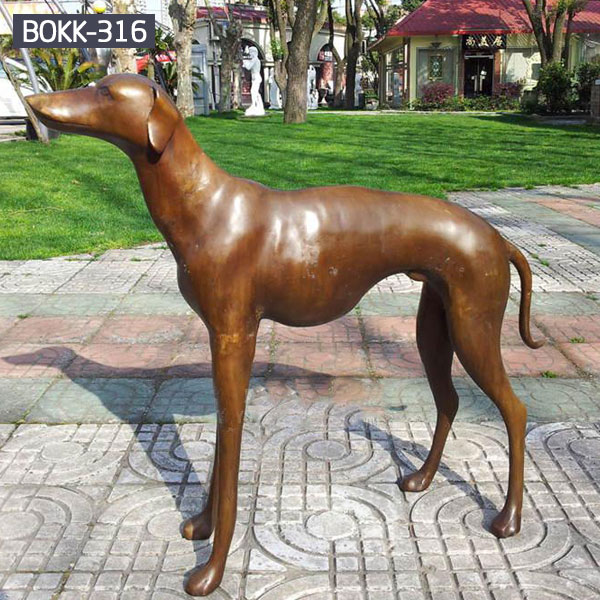 Bronze whippet dog sculpture for outdoor garden decor