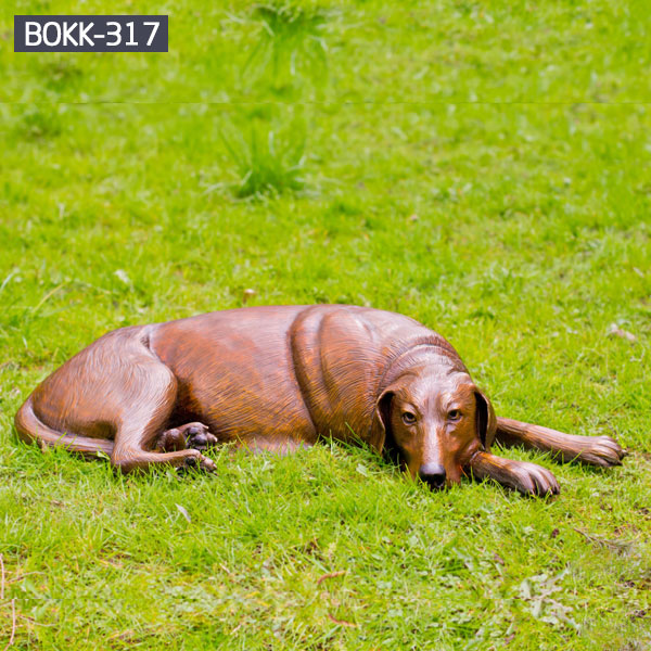 Brass full size lying dog statues for lawn ornaments
