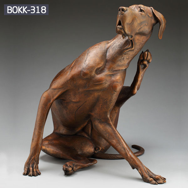 Bespoke bronze metal full size sitting dog statues for sale